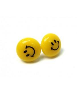 KOLCZYKI żółte EMOJI buźki śmiech sztyfty