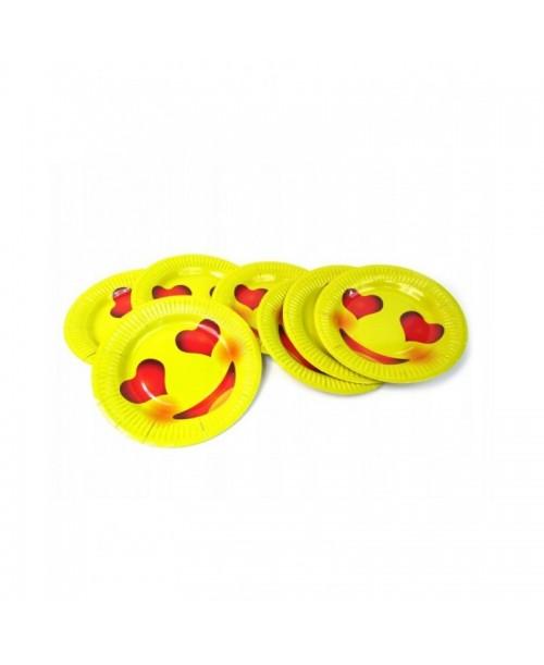 PAPIEROWE TALERZYKI emoji SERCA party piknik x10