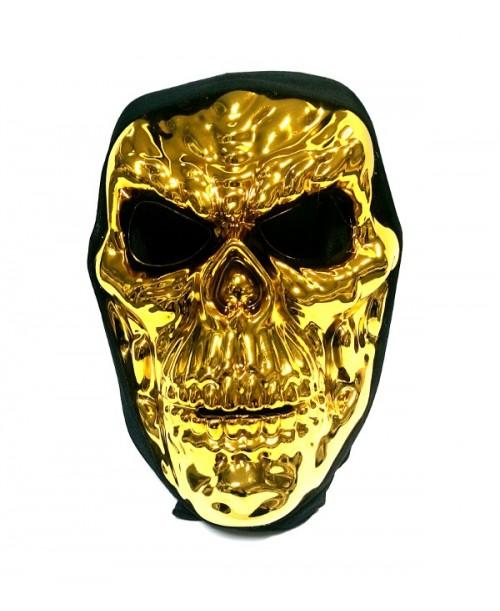 Maska małpa ZŁOTA CZASZKA metaliczna przebranie