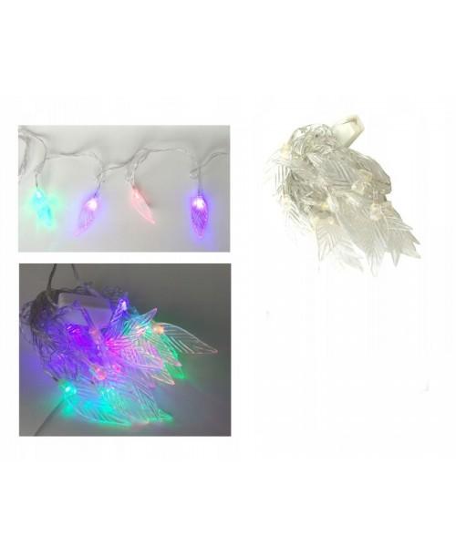 20 szt. LAMPKI LED kolorowe na choinkę LISTKI 4M