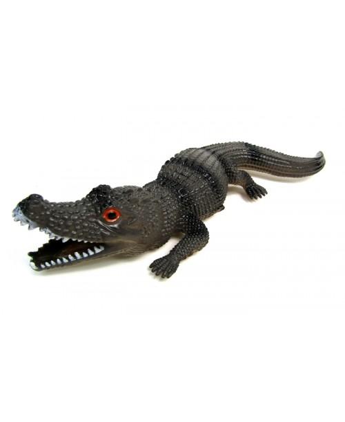 Gumowa brązowa figurka aligatora 30 cm