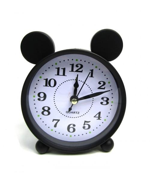 Stojący czarny budzik z uszami myszki