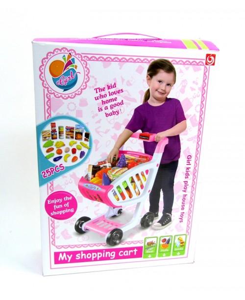 Duży wózek marketowy z akcesoriami dla dzieci