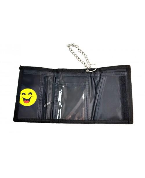 CZARNY portfel EMOJI z łańcuchem WZORY