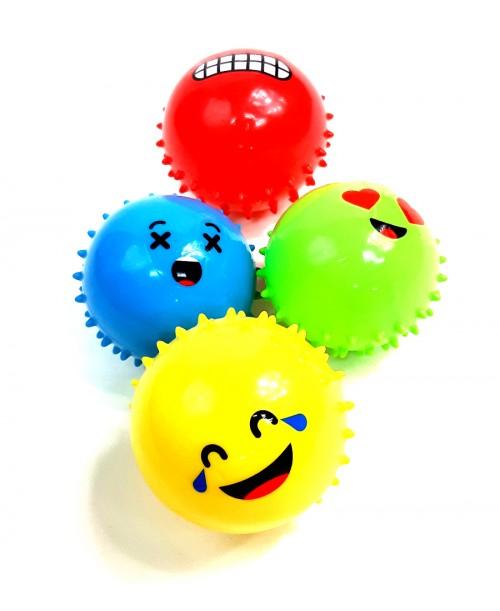 PIŁKA EMOJI z kolcami ANTYSTRESOWA kolory 8 cm