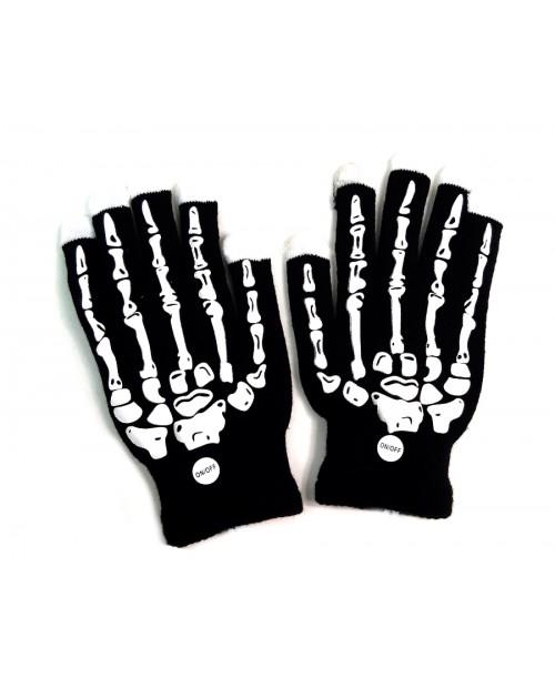 Rękawiczki CZARNE LED szkielet KOŚCIOTRUP świecące