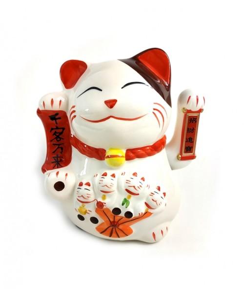 Maneki Neko Ceramiczny Kotek Szczęścia Zapraszający 20cm