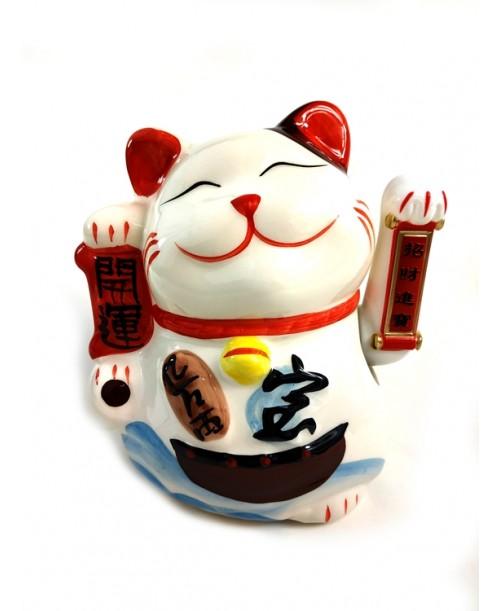 Maneki Neko Ceramiczny Kotek Szczęścia Zapraszający 17cm