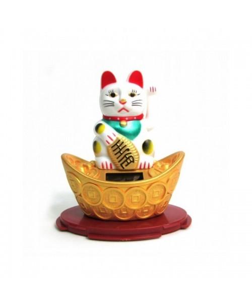 MANEKI NEKO japoński kot szczęścia FIGURKA solarna