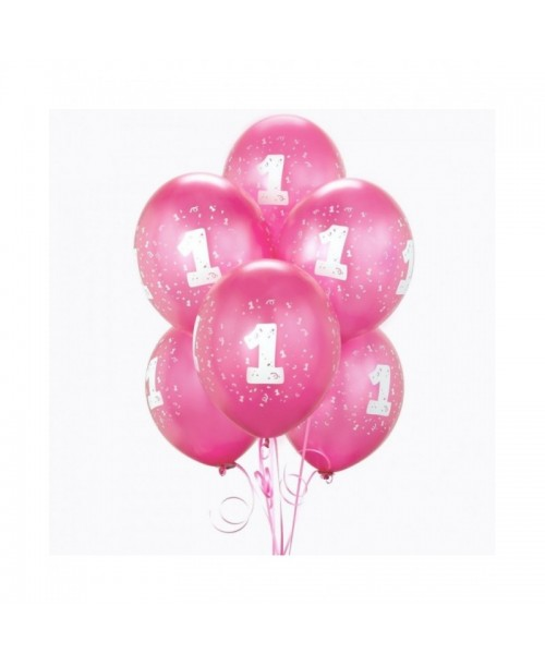 BALONY różowe matowe 1 URODZINY roczek 25cm