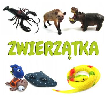 Figurki w kształcie różnych zwierzątek. Gumowe, plastikowe, piszczące i rosnące w wodzie. Węże, zwie